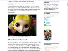 Fashion Designer Interview 3: Parasol Doll (mademoiselleblythe) Tags: fashion blog doll designer parasol interview ythe