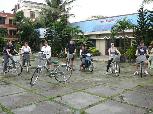 The tour group ready to go cycling