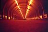 Poplar Tunnel, redscale (slimmer_jimmer) Tags: london poplar footbridge tube tunnel docklands canarywharf dlr foottunnel poplardlrstation redscale cosina20mmf38 redscaledfujisuperior400