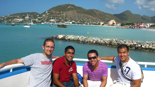 Chris, Arif, JP, and I leaving St. Maarten on a ferry.