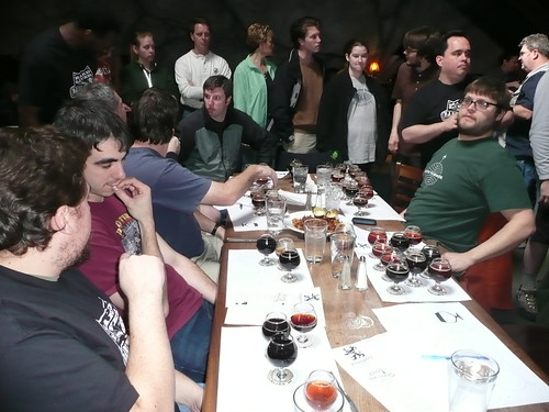 Tables filled with sheets of barleywine while the line for beer behind snaked from the bar