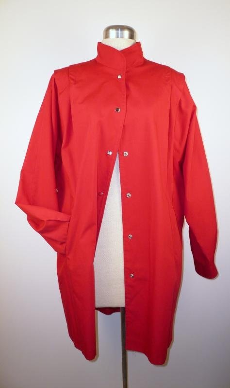 Red Spring Batwing Coat with Snaps