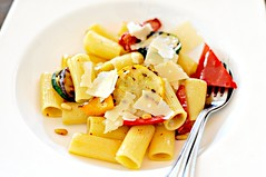 Grilled vegetable pasta sauteed with garlic and flambeed with vodka, The White Rabbit, Dempsey