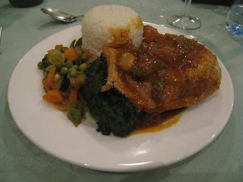 Chicken, veggies, greens and rice