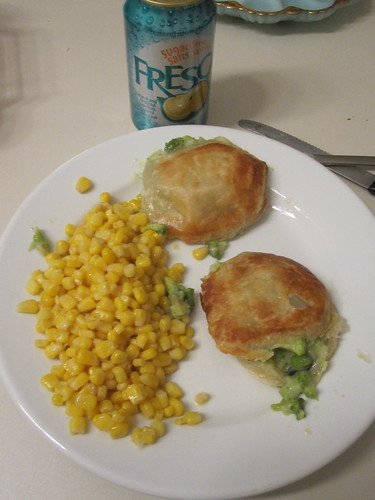 Broccoli turnovers, corn, Fresca