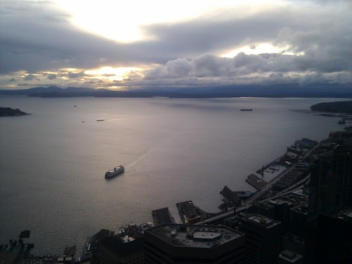 75th floor, Seattle's Columbia Tower, shortly before sunset