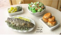 Fish Dinner and Miscellaneous Sides (1/12 scale)