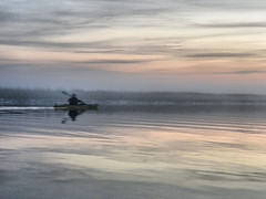 2a David Paddles Into the Fog (Glass Bead Game Master) Tags: sunrise easter kayak paddle charles kayaking davidt