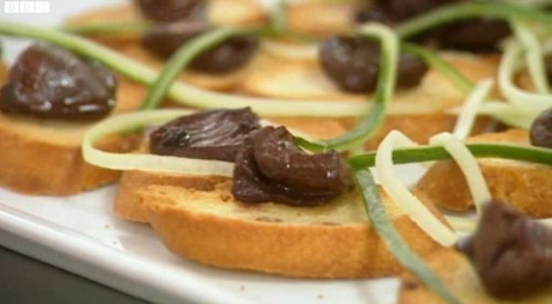 Duck hearts on toast - one of Alex's dishes in the MasterChef Final (copyright BBC/SHINE)