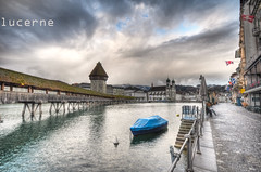 lucerne (Toni_V) Tags: bridge sky church clouds schweiz switzerland europe suisse perspective luzern lucerne jesuitenkirche woodenbridge hdr wasserturm 2010 kapellbrcke reuss d300 ostermontag sigma1020mm 100405 photomatix 7exp jesuitchurch dsc9066 lucernesjesuitchurch chaperbridge