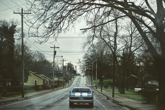 street blue car rain driving nashville cloudy stripes chevymalibu
