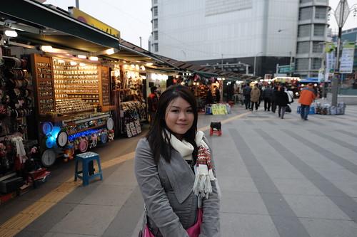 busy night market street