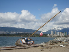 Aftermath of 100 km/hr Wind Storm in Vancouver: Washed-up Boat at Hadden Dog Beach