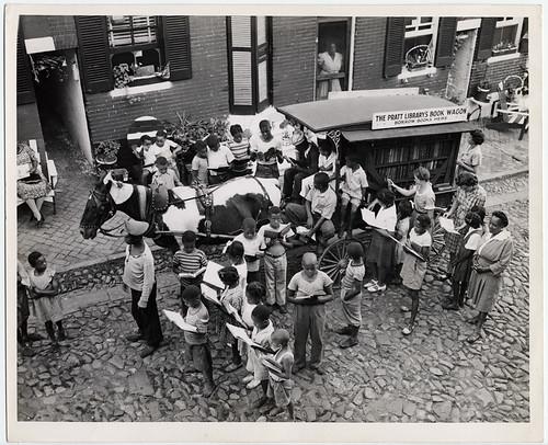 Enoch Pratt Free Library book wagon during visit to Dallas Street, Baltimore by Enoch Pratt Free Library