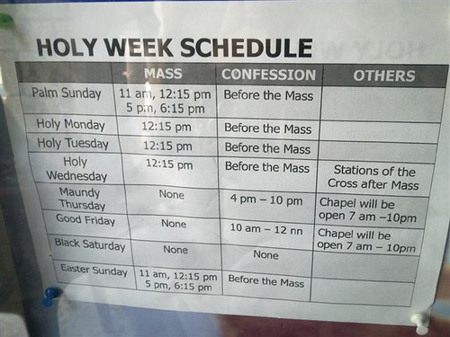 Holy Week 2010 Schedule Pulilan