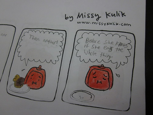 Tofu Baby comic with added text from the high school class.