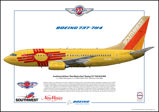 Southwest Airlines New Mexico One Boeing 737-7H4 N781WN