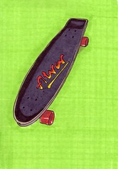 Retro Skateboard (Homemade Pop) Tags: art alva artwork artist folkart outsiderart folk originalart contemporary drawings pop popart homemade skateboard marker prints prismacolor foodart doodling 5x7 magicmarker foodpackaging pilotpen cheapart retroart brightart originalillustration quirkyart