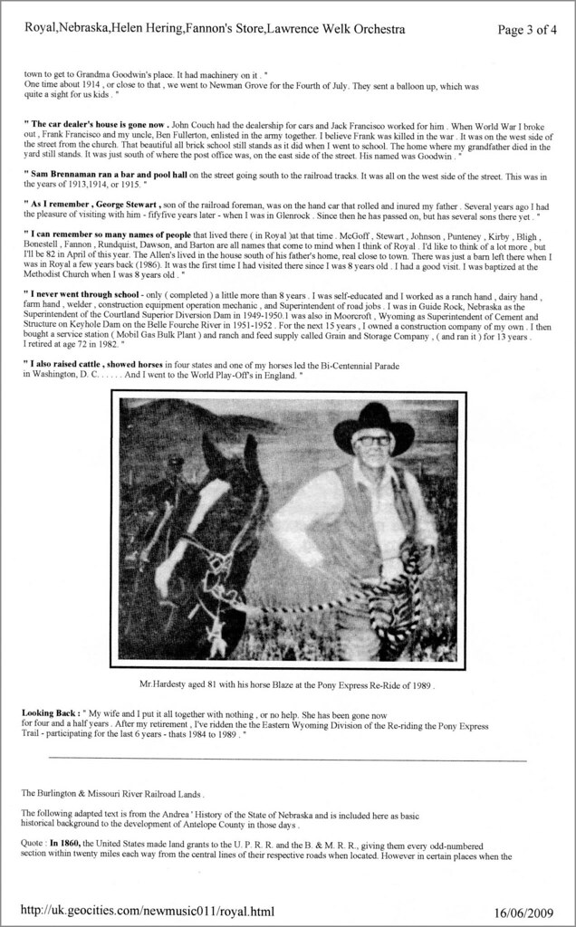 The Pioneering Story of Royal , Nebraska ( Page 3 of 4 )   George Hardesty's account continued  : The Burlington and Missouri River Railroad Lands Dispute . . . . .