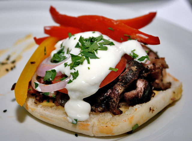 Lamb Shawarma. Grilled lamb on pita bread with yoghurt and hummus. Syria, anyone?