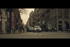Crossroads (- Loomax -) Tags: street urban paris car sunshine evening pavement crossroad cinematic champselyses anamorphic warmcolors cinemascope kowa8z