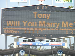 Woman proposed to Tony - Dodger Game vs SF Giants, April 18, 2010