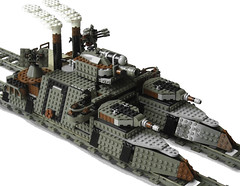 """Ironclad-Class"" Light Double-Gauge Steam Railship Mk.XLVIII (side) (aillery) Tags: train war lego military great steam battleship machines steampunk ironclad railship"