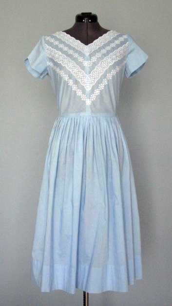 1960s Blue Embroidered Dress