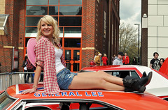 Southend Film Festival - Daisy Duke on General Lee (Community Archive) Tags: street england people streets english film girl fashion festival boots candid country daisy denim vernacular essex southend dukesofhazard daisydukes cowboyboots hotpants southendonsea lurkation townlife interestingpeople thisengland 01052010