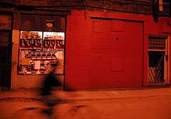 Le passage du cycliste (De Orval) Tags: street red people black blur bike bicycle night rouge noir montreal picture backstreet ruelle soire soir rue bicyclette flou silouhette patmtl