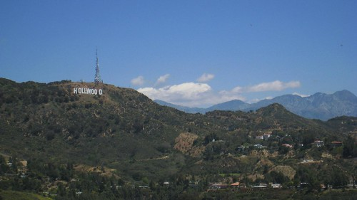 View of the Hollywood hills from outlook point on Mulholland Drive.