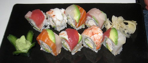 The colorful rainbow roll.
