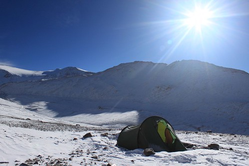 Camping in the snow at 4,900 m