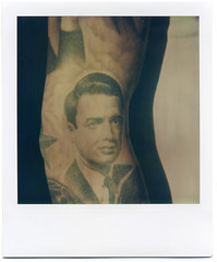 Happy Birthday Edwin Land (This Is A Wake Up Call) Tags: atlanta portrait tattoo polaroid sx70 happybirthday fadetoblack edwinland memorialtattoo philcolvin roidweek