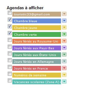 Google agenda choix des calendriers