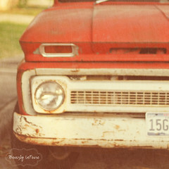 old red truck (life stories photography) Tags: chevy oldredtruck coffeeshopaction florabellatexture