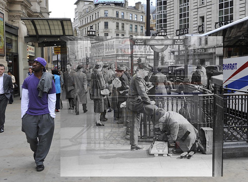 Piccadilly Circus then and now from Museum of London's Streetmusuem app