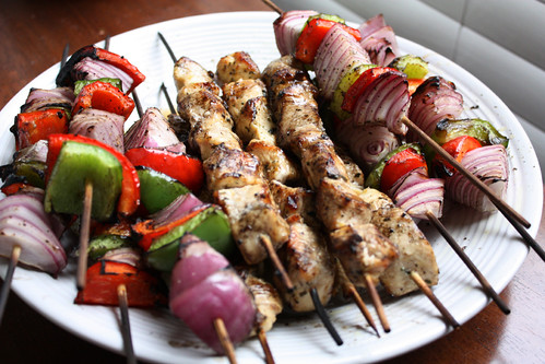 Garlic Lemon Chicken Kabobs w/ Roasted Vegetables