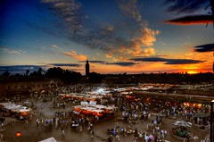 Jamaa el Fna (Tony Shertila) Tags: africa city light sunset vacation sky holiday color colour weather fruit square day market juice arabic clear morocco arab marrakech souk oranges 1001nights stalls jamaaelfna