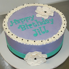 Purple Birthday Cake (cjmjcrlm (Rebecca)) Tags: birthday black cake purple turquoise fondant buttercream fantasyflower