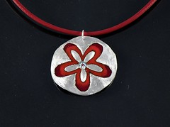 """""""Flower"""" Enameled Silver Necklace (EfratJewelry) Tags: silver handmade jewelry jewellery sterling 925 enamel silversmith metalsmith sterlingsilver           efratjewelry"""