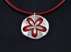 """Flower"" Enameled Silver Necklace (EfratJewelry) Tags: silver handmade jewelry jewellery sterling 925 enamel silversmith metalsmith sterlingsilver כסף סטרלינג תכשיטים שרשרת תליון תליונים שרשראות צורפות עיצובתכשיטים אמייל efratjewelry אמיילחם"