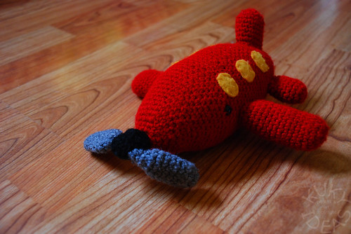 Crocheted airplane