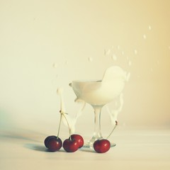Day One Hundred and Fifty Seven (MarianneLoMonaco) Tags: red food motion glass fruit square cherry fun photography milk mess champagne marianne splash whiteonwhite project365 lomonaco
