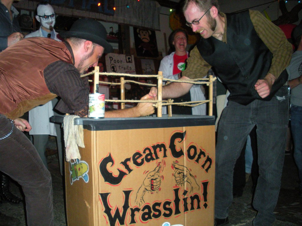 Creamed Corn Thumb Wrestling at Dismal's Heathen Stomp (copyright Dismal)