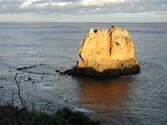 The setting sun strikes Cathedral Rock on Great Ocean Rd Vic (spelio) Tags: ocean road travel 2002 great oct favorites australia victoria favourites vic favs otways rocksrocksrocks pa300029