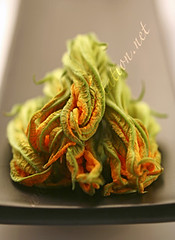 Flowers - Zucchini Blossoms on a Black Plate