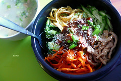 .bibimbap. (11) Tags: lunch rice sesame cucumber egg pork carrot friedegg  bibimbap        spicysauce