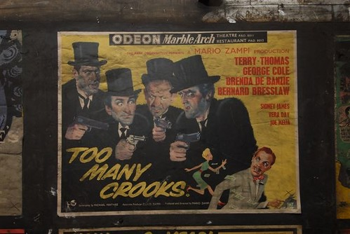 """Too Many Crooks"" movie film poster c1959, as found in disused area of Notting Hill Gate tube station, London, 2010"