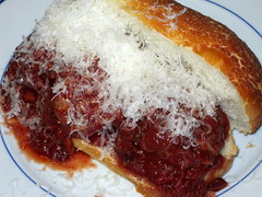 Served in a meatball sub with grated parm.